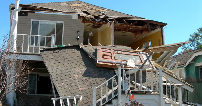 house with storm damage