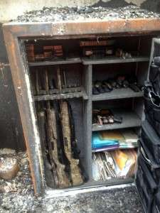 Contents of the gun safe after the house fire.