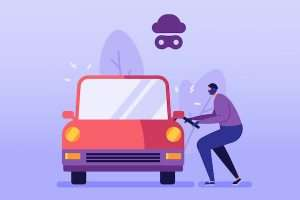Car Theft Vector illustration. Auto Thief in Black Mask ...